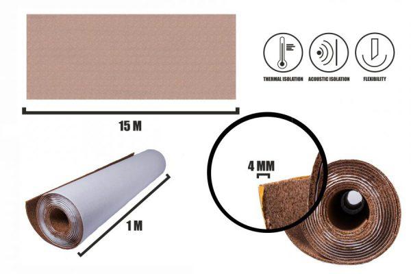 Selbstklebender Kork Rollen 4mm (15m)