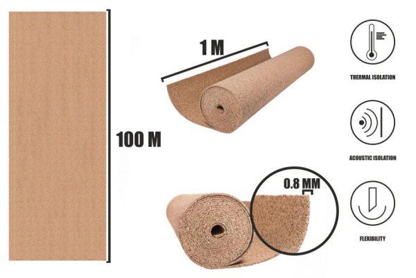 Kork Rollen 0,8mm (100m)