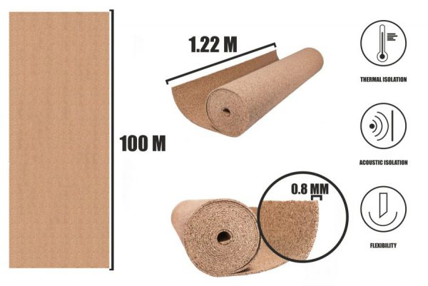 Kork Rollen 0,8mm (100x1,22m)
