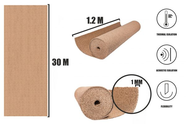 Kork Rollen 1mm (30x1,2m)