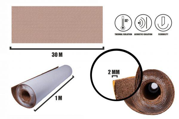 Selbstklebender Kork Rollen 2mm (30m)